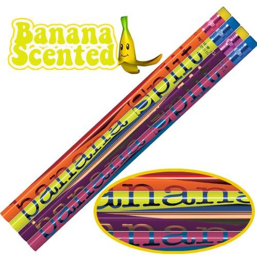 Duft: Banana Split Ends HB Bleistifte mit Radiergummi, 12 Stück (4 verschiedene designs pro pack) -