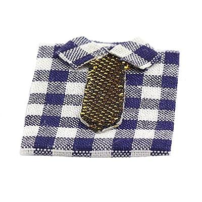 MyTinyWorld Dolls House Miniature Shirt With Large Blue and White Checks