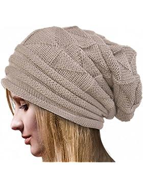 zolimx Sombrero de mujer, Lana de invierno Crochet punto caliente gorro