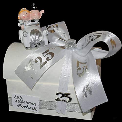 Geld Geschenk zur silbernen Hochzeit - Geschenkbox mit Auto