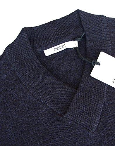 Jack & Jones Premium Pedro Schal V-Ausschnitt Pullover Blau - Navy