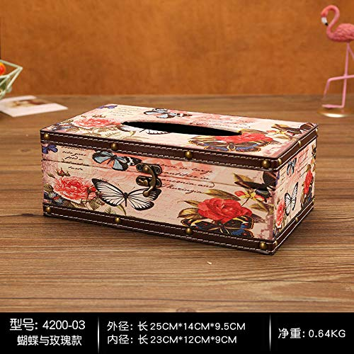 Joeesun Amerikanisches Retro- Seidenkastenwohnzimmerhauptkreatives Kaffeetischrestaurantbehälter ins Windbadezimmerserviettenbehälter Rosa -