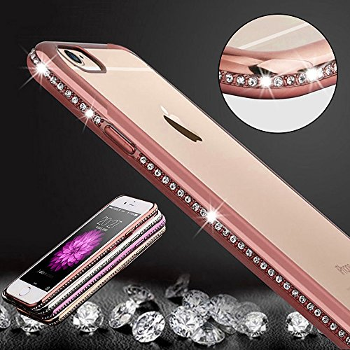 TheSmartGuard Glitzer Hülle kompatibel für iPhone 8/7 Hülle Glitzer-Strass Case Schutzhülle Glamour Glitzer Crystal Look mit Strassteinen iPhone 8 & 7 | Farbe: Rosé - Rose - Strass Iphone