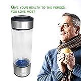 Dailyinshop Wasserstoffreiche Flasche Wasserflasche Wasserglas Kostenlose Ionisator Trinkflasche (Farbe: Transparent & Silber)