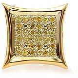 0,08quilates (de quilate) redondo amarillo Diamante Micro Pave Setting cometa forma Stud Pendientes (sólo 1pieza)