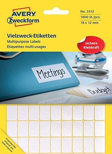 Preisvergleich Produktbild Avery Zweckform 3312 Mini-Organisations-Etiketten (1.800 Stück, 18 x 12 mm) 25 Blatt weiß