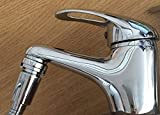 Turn your mixer tap into an instant shower, and use your tap like normal! Attach a Shower Hose or Hosepipe to a Tap & Have a Permanent Tap Aerator (Tap End) all-in-one! Simply push your hose into the secure tap aerators casing (once fitted) - no more nasty rubber push on hoses! INCLUDES: x1 White Shower Hose Connector (screws into your hose, then slides onto the tap aerator) & x1 Tap Aerator With Special Casing (Fits Male 24mm & Female 22mm Taps, a 28mm Male version is also available) N.B: Does NOT include a shower Hose or on/off shower head - Search for Every Drop Is Precious / Hair Wash Pack to see our other listings.