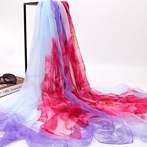 SED Schal-Frau Sommer allgleiches dünnes langes Silk Chiffon Schal-Schal-Schals Sunscreen Nachahmung Kaschmirschal weiblicher Herbst und Winter koreanische Studenten gestrickter Schal lang,Rosen-Safr