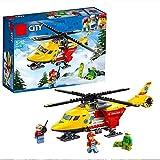 YK GAME Great Vehicles Ambulance Helicopter Toy, Costruisci E Gioca Set di Costruzioni per Bambini,A