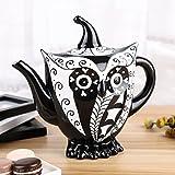 Artvigor, Porzellan Kaffeekanne, 1,2 Liter, Groß Teekanne, Handbemalt, Eule Tierfigur Deko