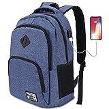YAMTION Zaino Porta pc con Porta di Ricarica USB,Zaino Scuola Scomparto per Laptop da 15,6 Pollici (15.6 Pollice, GJB6-dark Blue)