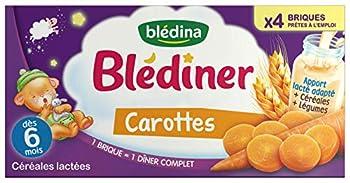 Blédina Blédîner 12 briques Céréales Lactées Carottes dès 6 mois (Pack de 3x4 briques)