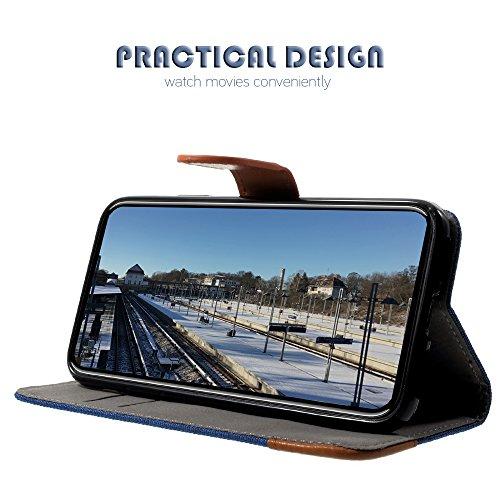 Handy Etui Schutz Hülle für Apple iPhone X 10 5.8 Zoll | JEANS Design mit Kartenfach und Magnet SCHWARZ | Flip Case TPU Wallet Cover Klapphülle Ständer Schwarz
