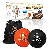 5BILLION Balles de Massage – Mobilité Balles balles et Crosse Haute densité pour la thérapie Physique – Outil de Massage pour Tissus Profonds, moiur, Muscle Relax – Lot de 2 (Noir & Orange)