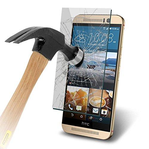 HTC One M9s Schutzhülle (3 Stück) für HTC One M9s, strapazierfähiges gehärtetes Glas, kristallklar, LCD-Bildschirmschutzfolien + Reinigungstuch & Karte zum Anbringen der Folie