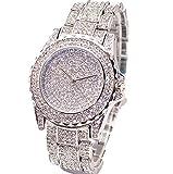 Gli orologi al quarzo,WINWINTOM le nuove donne di modo di lusso adattano a lusso i quadranti analogici del quarzo della vigilanza del quarzo guardano la signora Watch (Argento)