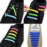 SCHNÜRRLIE Elastische Silikon Schnürsenkel - Der perfekte Schnürbänder Ersatz für Sneaker Turnschuhe Sportschuh (16 Stück Blau)