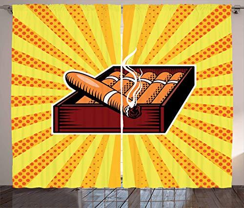 stikaler Gardine, Zigarrenschachtel in Pop-Art-Stil, Schlafzimmer Kräuselband Vorhang mit Schlaufen und Haken, 280 x 175 cm, Gelb Orange und Burgund ()