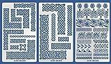 Aleks Melnyk #36 Schablonen/Metall Stencils Vorlagen/Keltischer Knoten und Griechische Ornamente/3 Stück/DIY Kunst Projekte/Stencils für Scrapbooking und Zeichnen/Brandmalerei Schablonen/Basteln