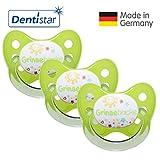 Dentistar Schnuller 3er Set - Nuckel Silikon in Größe 1 von Geburt an, 0-6 Monate - zahnfreundlich & kiefergerecht - Beruhigungssauger für Babys - Grün Grinsebacke