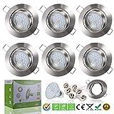 Liqoo 6x Foco Empotrable Led Gu10 Luz de Techo 6W equivalente a incandescente 40W Incluye Bombilla...