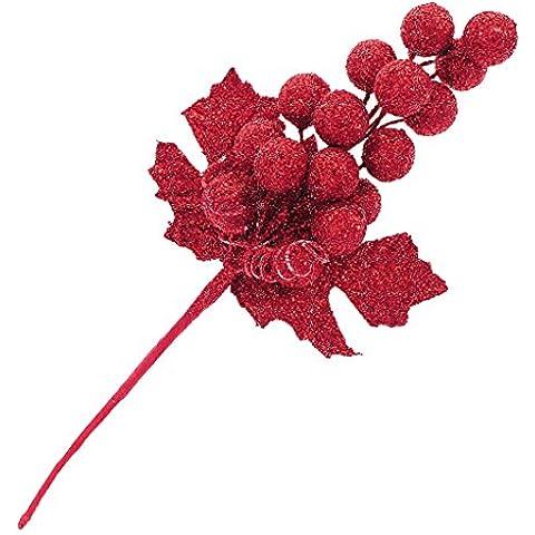 Natale Sfera Lucida Di Frutta Foglia Artificiale Cespuglio Albero Vacanza Ornamento - Multicolore - Rosso, 12#