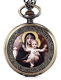 gorben Mary Full de Pascua de Jesucristo Hunter Japón reloj de bolsillo con collar de cuarzo llavero cadena, #4