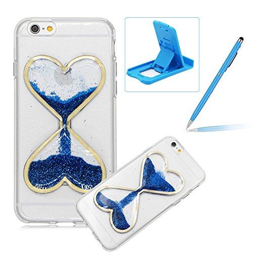 Custodia Bumper per iPhone 7 Plus 5.5 Case cover,Herzzer mode Liquido trasparente design Coquille 3D protezione Dual Layer Shell Liquid,amore cuore love Giallo Clessidra Unico Molto sottile Modeling Blu