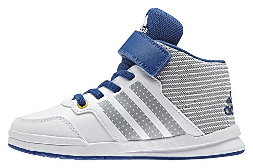 adidas Jan Bs 2 Mid C, Chaussures de Gymnastique Mixte Bébé Blanc / bleu (blanc Footwear / onyx clair / bleu équipement)