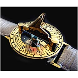 CLASSIC RETRO STEAMPUNK SUNDIAL COMPASS WRIST WATCH with IVORY LEATHER BRACELET