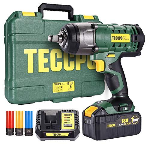 Clé à chocs sans fil, TECCPO 350Nm Visseuse à Chocs avec 4.0Ah Batterie, 3 Douilles à Chocs pour Jantes Aluminium-17, 19, 21mm, 13mm Mandrin, Boîte Compacte - TDIW01P