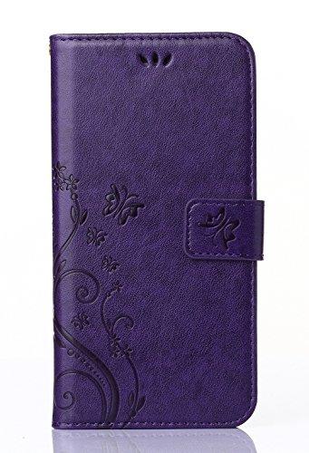 C-Super Mall-UK Samsung Galaxy S4 i9500 / GT - i9505 coque,gaufré papillon PU cuir Portefeuille flip Stand coque pour Samsung Galaxy S4 i9500 / GT - i9505 (violet)