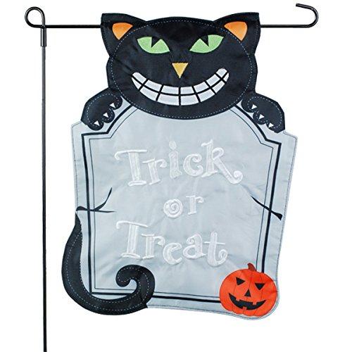gge Garten Flagge-Katze schwarz mit Grabstein-12x 18-Home Garten Flagge ()