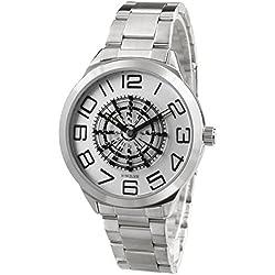Alienwork Ssqure Quartz Watch elegant Wristwatch stylish Metal white silver QH-48764G-02