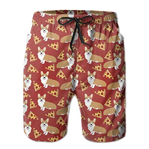 Corgi Junk Food Cute Dogs Pizzas Men Swim Trunk Beach Pants Pocket,Men's Beach Shorts Quick Dry Summer Surfing Trunks Surf Board Shorts Beach Pants with Pockets for Men Large -
