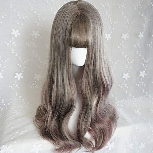 Aoki Leinengrau hebt dünne Rattanperücke hervor, weibliches langes lockiges Haar langes Haarset in der Farbe der großen Welle