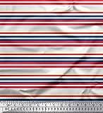 Soimoi Weiß Seide Stoff horizontal Streifen Drucken Nahen