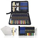 Farbstifte,Aquarellstifte Skizzieren Bleistifte,zeichnen zubehör set und federmäppchen groß - 54 Stück - Wasserfarben Buntstifte, ideal für kreatives Malen und Aquarellmalerei