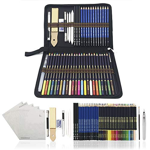 Zzone Matite Acquerellabili,Schizzo Disegno Matita,54pcs Professionali Colorate Matita Set e kit per disegnare,migliore regalo per studenti e artisti