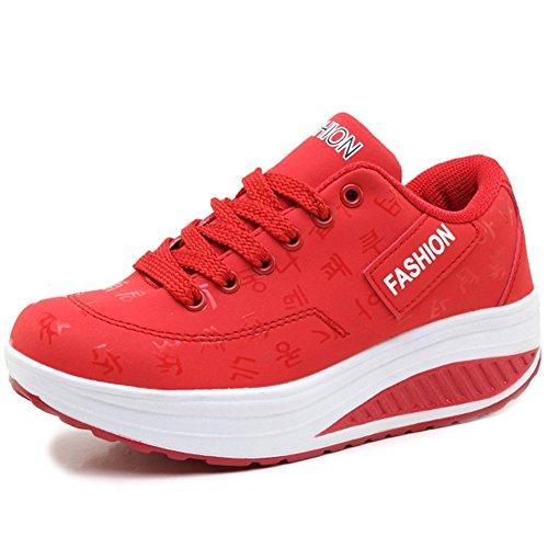 Gaatpot Damen Plateau Sneaker Keilabsatz Wedge Schuhe Leicht Freizeit Sportschuhe Bequem Turnschuhe,Rot,EU39=CN40