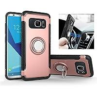 REXANG Coque Galaxy S7/S7 Edge [360 ° Kickstand] [Double Armor] Housse Etui TPU Silicone [Rotation de 360°] Double Couche Protection [Support de Voiture Magnétique] pour SAMSUNG