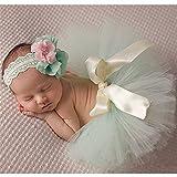 Hengsong Fotos Fotografie Prop Baby Mädchen Kostüm Kleidung Süßer Prinzessin Kleid Tütü Rock mit Blumen Stirnband (Größe 1, Hellgrün)