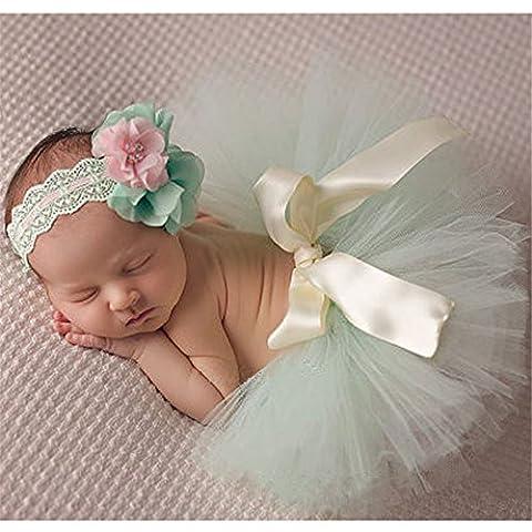 Hengsong Fotos Fotografie Prop Baby Mädchen Kostüm Kleidung Süßer Prinzessin Kleid Tütü Rock mit Blumen Stirnband (Größe 1, (Bestes Halloween-kostüme Für Kleinkinder)