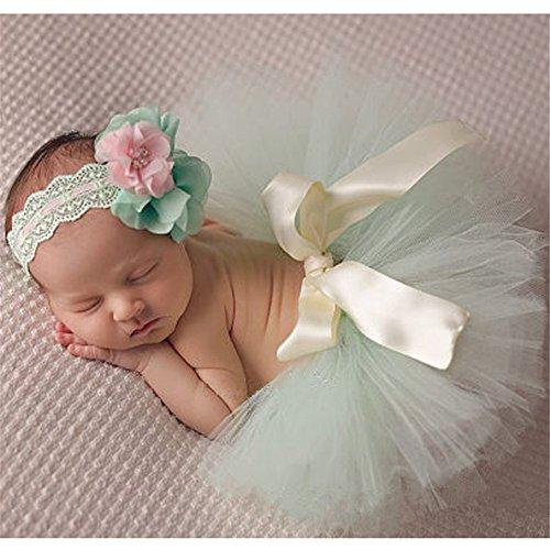 rafie Prop Baby Mädchen Kostüm Kleidung Süßer Prinzessin Kleid Tütü Rock mit Blumen Stirnband (Größe 1, Hellgrün) (Beste Baby-mädchen Halloween-kostüme)
