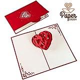 PaperCrush Pop-Up Karte Liebe - Handgemachte Valentinskarte, 3D Herz zum Jahrestag, Hochzeitstag-Karte für Frauen und Männer (Ich Liebe Dich, I Love You)