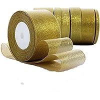 Rollo de cinta de lazo dorada Da.Wa, con purpurina, para manualidades, regalos, decoración de fiestas y bodas, de 22 m de largo y ancho para elegir de 0,6 a 5 cm, poliéster, dorado, 22m*5cm