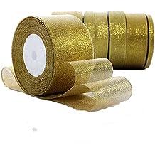 Rollo de cinta de lazo dorada Da.Wa, con purpurina, para manualidades, regalos, decoración de fiestas y bodas, de 22 m de largo y ancho para elegir de 0,6 a ...