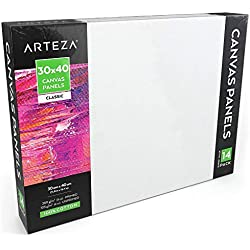 ARTEZA Paneles de lienzo para pintar cuadros | 30x40 cm | Pack de 14 | 100% algodón | Imprimación sin ácidos | Lienzos grandes para artistas profesionales, aficionados y principiantes
