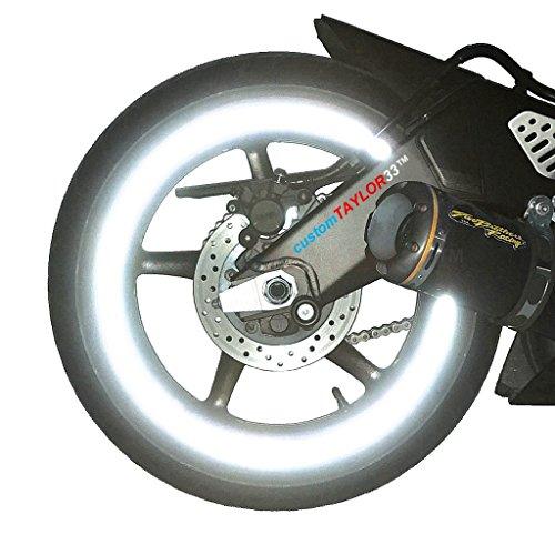 customTAYLOR33 (Alle Fahrzeuge Weiß/Silber/Chrom Hohe Intensität Reflektierend Sicherheit Felgenbänder, 17