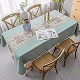 gumeng Tischdecke Stickerei Stoff Klassisch Zen Couchtischdecke rechteckig eckig Tischdecke Garten Grün 110 * 110cm